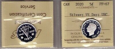 1945-2020 Canada Silver VE-Day; Ultra Heavy Cameo (UHC) 5 cent ICCS PF-67