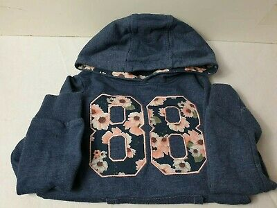 F & F Girls Hoodie Ages 6-7, front pocket jumper floral blue
