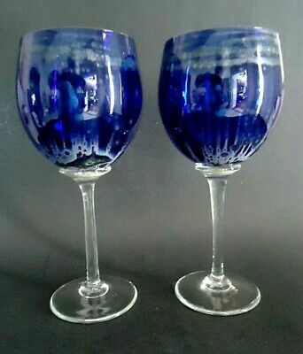 Pair Crystal Wine Glass Stems Cobalt Blue Gilmor Glass Works Hand Blown 12 oz