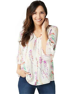 Belle by Kim Gravel Womens Floral Blouse Flutter Sleeves Large White A350461