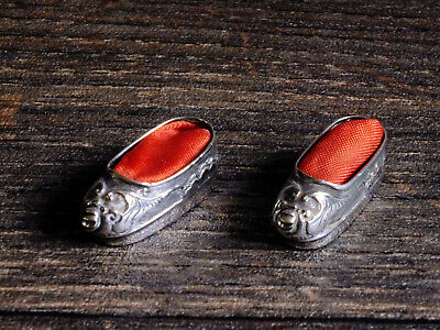 Antique Chinese Silver Tiny Model Shoes Slippers Wang Hing; Pin cushions?