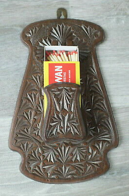 Antique Chip Carved Wood Wall Match Holder; Could be used as lightweight  hook?