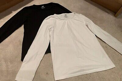 H&M Girls 2-Pack Long Sleeved Tops Black / White Age 6-8 Years Vgc