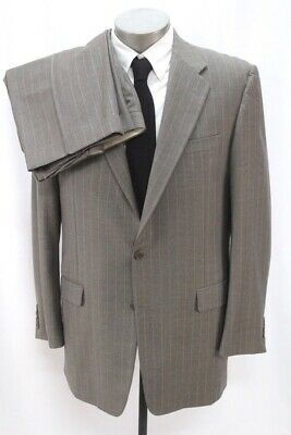 mens taupe stripe HICKEY FREEMAN 2pc PANT SUIT loro piana fabric madison 42 L