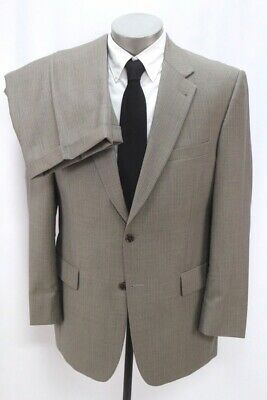 mens taupe stripe JOS A BANK 2pc PANT SUIT signature two button wool 42 R