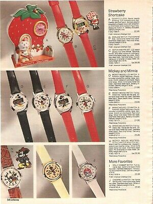 Vintage 1981 Strawberry Shortcake Mickey Mouse Watches Catalog Print Ad
