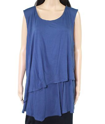 Alfani Womens Tops Deep Blue Size 3X Plus Knit Asymmetrical Layered $55 030