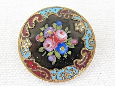 Antique Button French Champleve Enamel Roses on Black Fancy Border