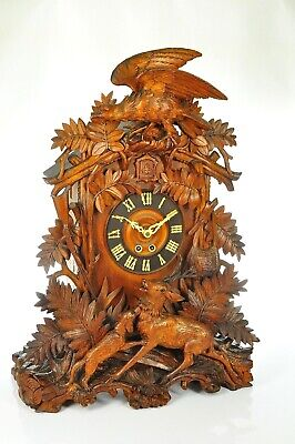 Amazing Antique Carved Black Forest Cuckoo Clock - HAND CARVED  approx. 1890