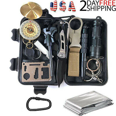 14 In 1 Camping Survival Kit Outdoor Military Tactical Backpack Emergency Gear