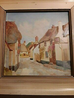ANTIQUE VINTAGE OIL PAINTING ENGLISH PUB all proceeds to food bank