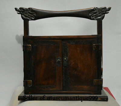 "12"" Old Chinese Huanghuali Wood Dynasty Dragon portable drawer cupboard cabinet"