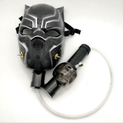 Black Panther Smoking Water Pipe Silicone Gas Mask Bong With Flexible Pipe