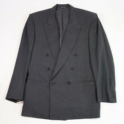 Canali Men's Double Breasted Gray Wool Blazer 42L US 52L EU Made in Italy