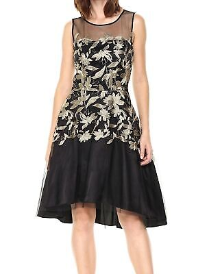 Tahari by ASL Womens A-Line Dress Gold Black Size 10 Embroidered $158 636