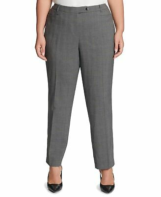 Calvin Klein Womens Pants Gray Size 14W Plus Dress Tapered Stretch $109 308