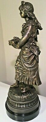 Antique Young Lady with Books Sculpture, Bronze Effect Spelter Casting - 46cm