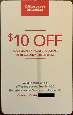 $10 Off $50 Purchase at OFFICE DEPOT / OFFICE MAX Coupon (exp. 4/11/20)