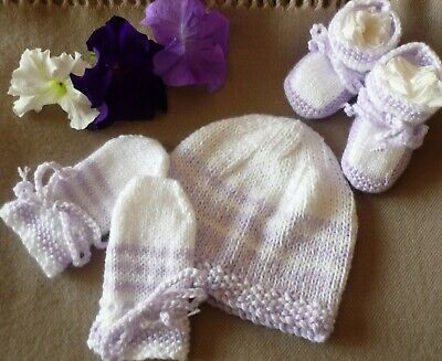 Beanie, Booties & Mittens Set, Hand-Knitted By Me. Extra Soft! Mauve & White