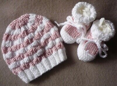 Beanie & Booties Set. White with Pink. Hand-knitted by me. Extra Soft. Girl Baby