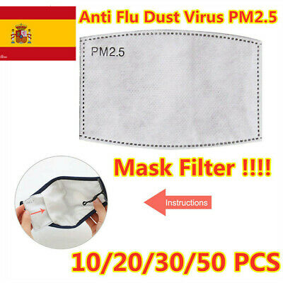 20/10/50 Papel filtro PM2.5 Mascarilla Haze Anti Flu Dust Fog Filtro máscara