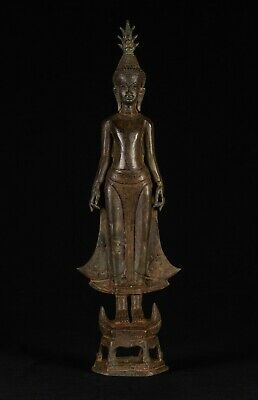 """Antique Laos Style Standing Buddha Statue in Varada or Charity Mudra - 51cm/20"""""""