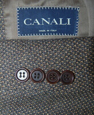 Mens 42 L / 52 eu Canali Olive Brown Woven Pin Dot Wool Sport Jacket Italy