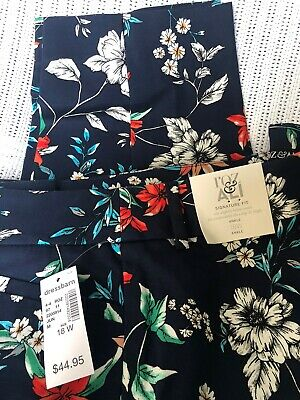 Roz & Ali Signature Fit Ankle Pants Plus Size 18W Floral Print Flat Pockets