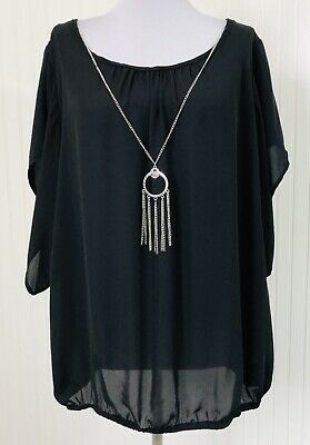 NY Collection NWT Women's 2X Blouse Solid Black Removable Necklace Short Sleeves