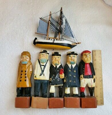 """Boat Captain Sailor Pirate Hand Carved Wood Painted 6"""" & Sail Boat"""