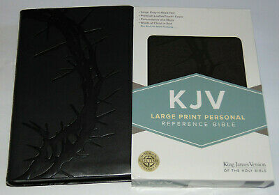 KJV Holy Bible LARGE PRINT Charcoal Black Leather-Touch Cover King James Version