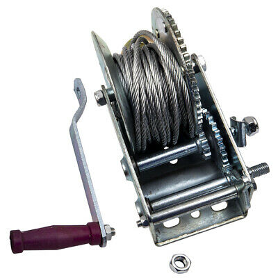 3500lbs Dual Gear Hand Winch For Trailer ATV RV  33ft Cable Cabrestante manual
