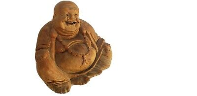 Antique carved wood Happy Buddah Chinese carved statue figure RARE
