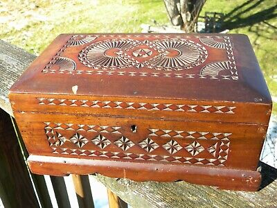 Antique Chip carved wood box German? As is
