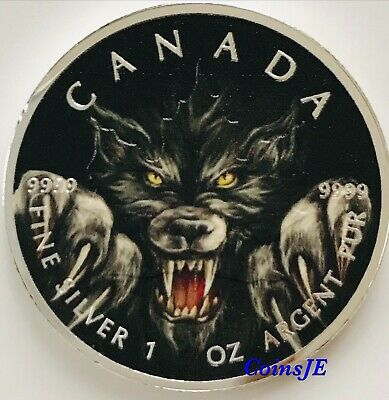 2019 WEREWOLF 1 oz .9999 Silver Coin 5$ Canada Maple Leaf Colorised Coin