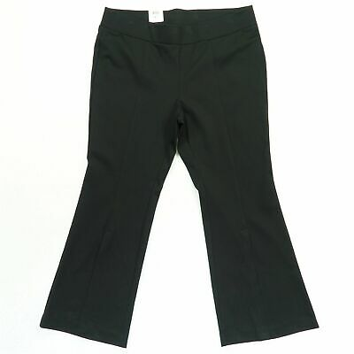 INC Womens Pants Black Size 18W Plus Split Front Pull On Flare Stretch $89 173
