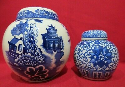 """Vintage Burgess & Leigh """"Willow"""" Ginger Jar for Twining & Co with smaller jar"""