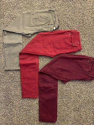 Lot Of 3 Loft Outlet/Ann Taylor Womens Skinny Jeans Size 4 Red Green CLEAN