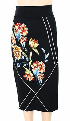 Alfani Womens Skirt Black Size 16W Plus Stretch Knit Floral-Print $59 215
