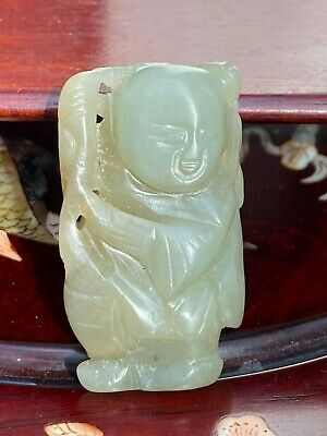18th/19th C. Chinese Small Hetian Jade Carving of A Boy