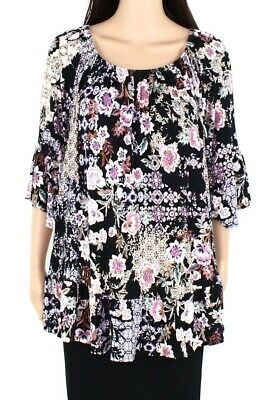 Style & Co. Womens Top Black Size 3X Plus Floral Ruffle-Hem Flare Sleeve $56 089