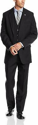 Stacy Adams Mens Suit Black Size 38 3 Piece Notch-Collar Two Button $399 894