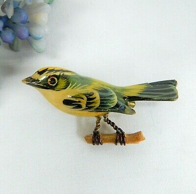 Japanese Takahashi Vintage Hand Painted Wooden Bird Brooch Pin
