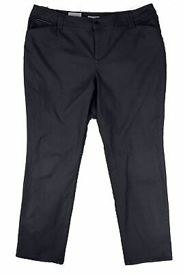 Charter Club Womens Pants Black Size 20W Plus Slim Leg Chinos Stretch $69 288