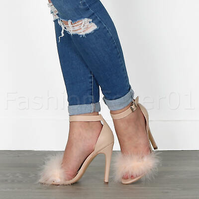 Womens Ladies High Heel Fluffy Barely There Ankle Strap Strappy Shoe Size 4 37