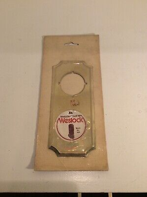 1960's WESLOCK DOOR KNOB TRIM DECORATIVE TRIM ESCUTCHEON PLATE ANTIQUE BRASS 884