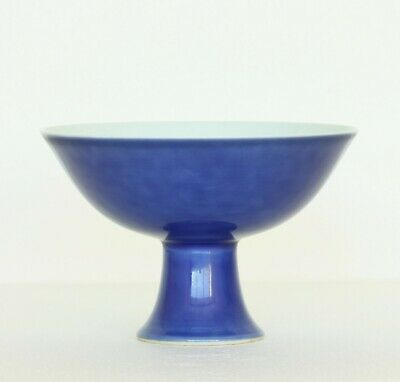 A Chinese Blue-Glaze Porcelain Chalice Qing Dynasty YongZheng Mark.