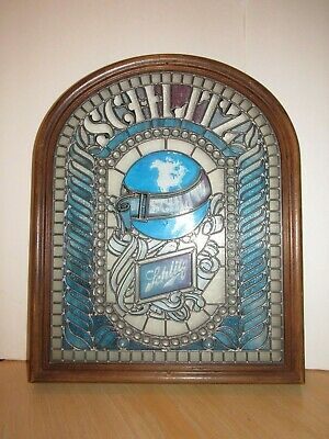 SCHLITZ BEER SIGN Stained Glass/Plastic 21x26 Bar Advertising Art Blue/Purple