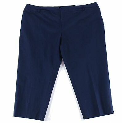Charter Club Womens Pants Blue Size 22W Plus Slim-Leg Cropped Stretch $79 148