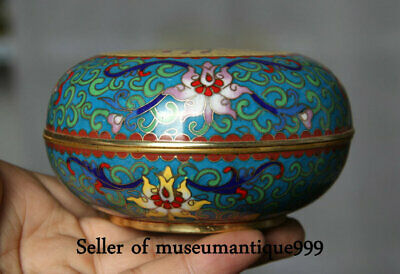 "4.2"" Qing Dynasty Marked China cloisonne enamel Flower Bat jewelry Box Case"